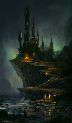 Underdark sea coast Wizard's Castle story by Andreas Rocha Fantasy Art Watch Fantasy City, Fantasy Castle, Fantasy Places, Fantasy World, Gothic Fantasy Art, Concept Art World, Fantasy Concept Art, Fantasy Artwork, Concept Art Landscape