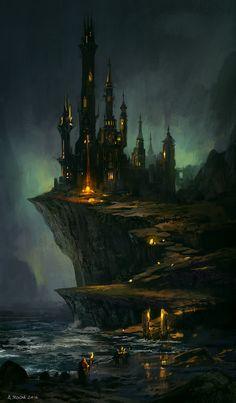 Wizard's Castle, Andreas Rocha on ArtStation at https://www.artstation.com/artwork/Kzdwy