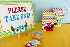 Favors at a Monster Party #monster #partyfavors