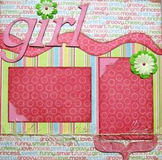 Scrapbook Page Kit Layout Girl Love Friend 12x12 by upinthenight, $6.99