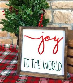 ~Joy to the World Framed Wood Sign~ Add a special rustic touch to your holiday decor with this framed wood sign! Perfect to hang on [. Christmas Wood Crafts, Christmas Signs Wood, Holiday Signs, Noel Christmas, Rustic Christmas, Christmas Projects, All Things Christmas, Holiday Crafts, Christmas Decorations
