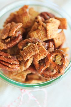 Cinnamon-Sugar Candied Chex Mix with Pecans and Pretzels (Brown Eyed Baker) Snack Mix Recipes, Appetizer Recipes, Appetizers, Snack Mixes, Popcorn Recipes, Holiday Snacks, Christmas Foods, Christmas Sweets, Party Snacks