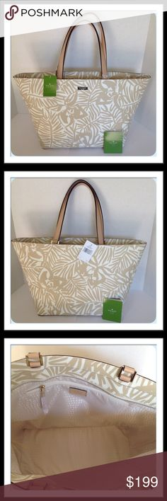 """Kate Spade Grant Street Jules Palm Tote Gorgeous bag. Zip top closure, one interior zip pocket, 2 slip pockets and fabric liner. Grainy vinyl exterior with gold toned hardware. Approx. 18"""" W x 11 1/2"""" H x 6 1/2"""" D   Trades  Holds kate spade Bags Totes"""