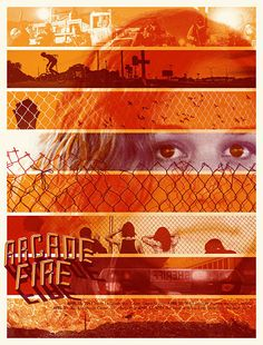 Arcade Fire by Burlesque. Part of a series of four, this poster was for the Midwestern shows, minus, Chicago, which had it's own poster in the series.