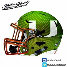 """New Miami Hurricane """"acceleration""""  helmet design by Helmetsoul. More to come. #canes #theu #miami #universityofmiami #miamidolphins @canesfootball @canescentral @nationsbestfootball new designs added! #helmet #collegefootball #design #nfl #football #footballhelmet"""