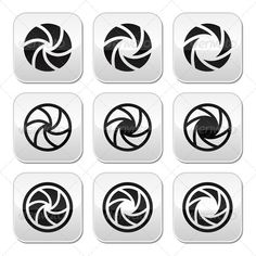 Camera Shutter Aperture Vector Buttons Set  #GraphicRiver         Aperture settings on camera buttons set isolated on white  FEATURES:   100% Vector Shapes  All groups have names  All elements are easy to modify – you can change coulours, size  Pack include version AI, EPS, JPG      Created: 8September13 GraphicsFilesIncluded: JPGImage #VectorEPS #AIIllustrator Layered: Yes MinimumAdobeCSVersion: CS Tags: analogue #aperture #black #button #camera #circle #device #digital #icon #image #lomo…
