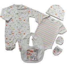 944f73ead8934 Kit naissance 5 pièces bébé mixte coton imprimé