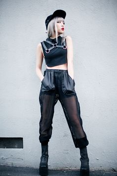 Ennui: Collared Crop Top, Collar Harness, Permafrost pants, Boyle Platform and Viking Cap - by Essy N.