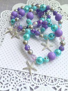 SET of TEN. Starfish bracelet, Mermaid party, jewelry favor, kids, stretchy, bracelet, ocean inspire