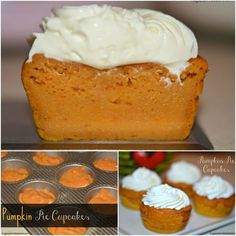 Pumpkin Pie Cupcakes With Cream Cheese Whipped Cream - hugsandcookies
