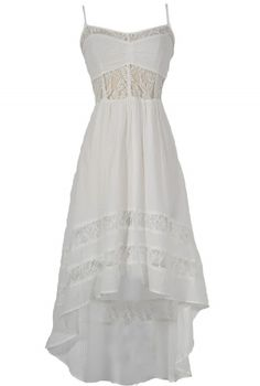 Monica Lace Inset High Low Designer Dress in White    www.lilyboutique.com