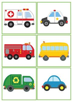 free clipart vehicle images for kids, boys, girls, fire truck, police car, school bus, recycling truck, car, Ambulance.