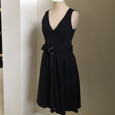 Theory Black Belted V neck dress EUC Theory Black belted vneck dress. Beautiful shape. Worn a handful of times - excellent condition. Linen viscose material, made in USA. Great lines! Theory Dresses Mini