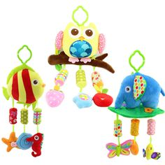 40cm Baby plush Owl lathe hanging bells Baby toy for bed with 3 Wind chimes Owl elephant little fish soft toy WJ285-WJ287