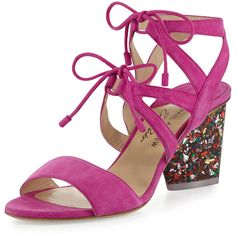 Paul Andrew X Edie Parker Rhoda Suede Glitter-Heel Sandal (3.515 BRL) ❤ liked on Polyvore featuring shoes, sandals, pink, shoes sandals, pink heel sandals, pink sandals, heeled sandals, lace up sandals and pink strappy sandals