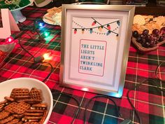 How to host a National Lampoon's Christmas Vacation movie viewing party, complete with a Christmas Vacation themed menu and decorations! Read below on how Christmas Party Ideas For Teens, Christmas Party Menu, Christmas Movie Night, Christmas Holidays, Christmas Treats, Christmas Decorations, Christmas Vacation Costumes, Lampoon's Christmas Vacation, Griswold Family Christmas