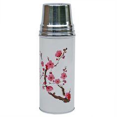Thermos chinois Blanc Cerisier - Pivoine et Tapioca