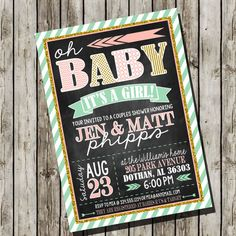 Could be done for baby boy or girl Couple Baby Shower Invitation  Pink Mint Gold by LaLoopsieInvites, $8.95