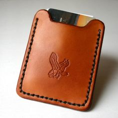 Flip Clip. Eagle stamped Mens leather wallet with by FatCatLeather, $34.99