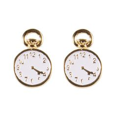 Gold Plated Alice in Wonderland Pocket Watch Stud Earrings from Disney... ($20) ❤ liked on Polyvore featuring jewelry, earrings, accessories, bijoux, random, stud earrings, pocket watches, pocket watch, disney couture earrings and earrings jewelry