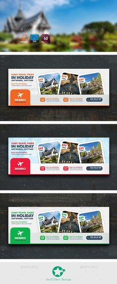 Travel Tour Cover Templates #photoshop #psd #all inclusive #boat • Available here → https://graphicriver.net/item/travel-tour-cover-templates/9619293?ref=pxcr