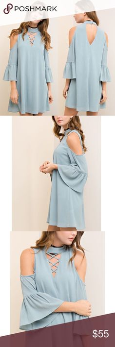CAYMIELYNN open shoulder dress - SKY BLUE Solid open shoulder 3/4 sleeve dress with front cutout/ criss cross detail. Back cutout with hook-an-eye closure. Fully-lined. Non-sheer. Woven. Lightweight.    92%POLYESTER 8%SPANDEX   NO TRADE, PRICE FIRM Bellanblue Dresses