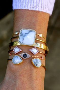 Bracelets: Melanie Auld Pave Square Cuff in White Howlite, Melanie Auld White Howlite Tear Cuff, Melanie Auld Rose Gold Pave Diamond Cuff in Mother Of Pearl, Custom Diamonds By The Yard Bracelet, Cartier Love Bracelet in YG, Vendoro Rose Gold Diamond Evil Eye Bracelet