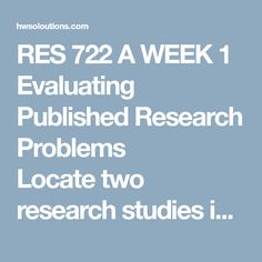 Res  A Week  Annotated Bibliography Research Three Published