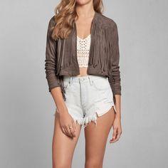 Womens Jenny Fringe Faux Suede Jacket | Womens Outerwear & Jackets | Abercrombie.com