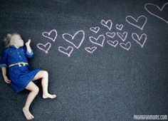 Valentines Day photo/card idea! Sidewalk chalk rocks!