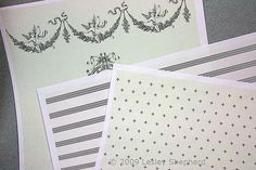 Free printable French style wallpapers in four dollhouse scales.