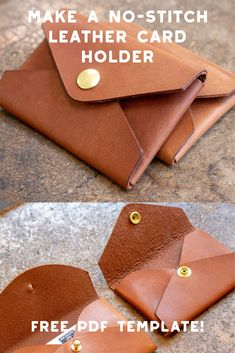 Make a no stitch leather card holder free pdf template set ideas for diy gifts harry potter hermione diy gifts Diy Leather Wallet Pattern, Leather Card Wallet, Sewing Leather, Diy Leather Envelope, Diy Leather Card Holder, Diy Leather Clutch, Diy Leather Working, Leather Bag Tutorial, Leather Working Patterns