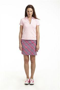 Pink Madras Tartan Wrap Golf Skort | #Golf4Her #NewArrival #Spring14 #golftini #preppy #plaid