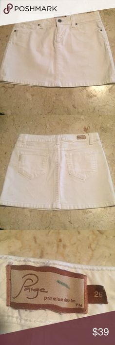 💋NWOT Paige White Denim Skirt. Size 26 💋Paige White Denim Skirt. Size 26. New without tags. New condition. Soft and comfortable. Zipper front w snap. Paige Jeans Skirts Mini
