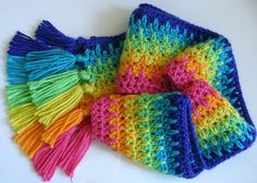 Gorgeous rainbow spike stitch crochet scarf!