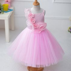 ROSES DECORATED TULLE GIRLS DANCE PRINCESS DRESS
