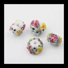 2 PCS Glass Lampwork Bead Set Flower Beads by Girljewelrybox