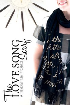 Love Song Bleached Scarf Tutorial - An easy way to add wording or images to a scarf! #scarf #diyfashion