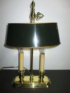 Vintage Solid Brass Lamp with Shade and Baldwin Brass Finial Lamp ...