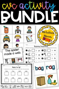 200 pages including short vowel word lists, matching games, cut & paste printables, clip-It cards, beginning sound boxes, word family sorts, match 'em up printables, and answer keys. I Words List, E Words, Teaching Schools, Teaching Resources, Teaching Ideas, English Worksheets Pdf, Short I Words, Tracing Letters, Alphabet Coloring Pages