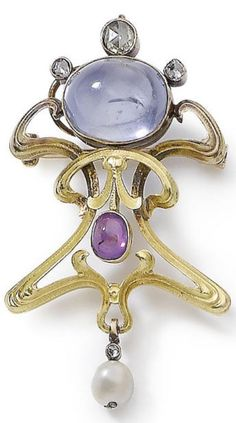 An Art Nouveau sapphire, ruby, pearl and diamond brooch/pendant, by Koch, circa 1900. Of openwork design with undulating motifs, highlighted by an oval cabochon sapphire and a similarly-fashioned ruby mounted in open collet-settings, accented by rose-cut diamonds, in closed-back settings, suspending a pearl drop, signed Koch, length 5.3cm.