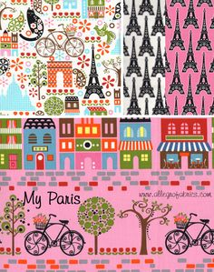 fabric paris france landmarks eiffel tower cotton fabric  | ... and White Daisy Covered Whimsical Eiffel Tower France Fabric TT | eBay