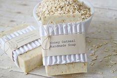These Honey Oatmeal Handmade Soaps are a great home craft that anyone can do.
