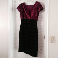 Stunning Evening Dress! Plum top with black tiered bottom. Super flattering. Only worn once to a wedding. Selling for my dear mom. ❤️ Dresses