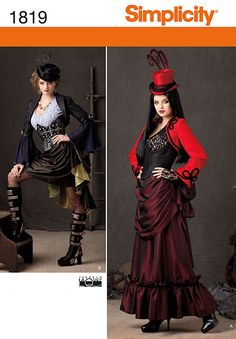 misses' victorian era steam punk inspired costume sewing pattern includes skirt in two lengths, bolero, top and bustier. theresa laquey.