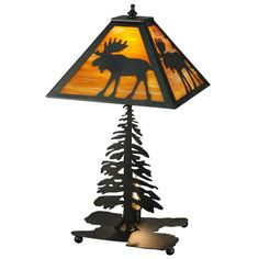 Moose and pine tree table lamp.