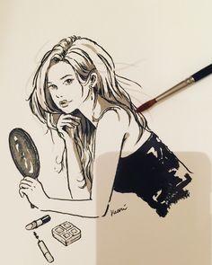 墨による制作過程。  #中里かおり #イラスト #透明水彩 #インク #墨  #イラストレーションファイル #ファッションイラストレーションファイル #art #artwork #artist #drawing #water #girl #woman #illustrator #illustration #kaorinakazato #illustrationfile #fashionillustration  #nude #makeup #dressup #ink #sumie