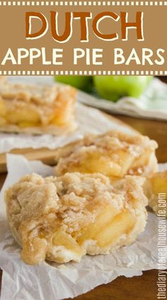 This recipe is so simple to make! Easy Dutch Apple Pie Bars. Fall Dessert Recipes, Fall Desserts, Desert Recipes, Just Desserts, Delicious Desserts, Candy Recipes, Apple Deserts Easy, Apple Recipes Easy, Simple Apple Pie Recipe