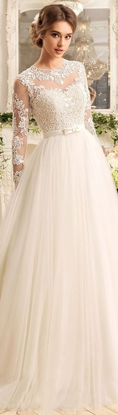 Fabulous Tulle & Satin Jewel Neckline A-Line Wedding Dresses With Lace Appliques