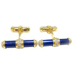 VAN CLEEF & ARPELS Diamond and Lapis Lazuli Baton Gold Cufflinks
